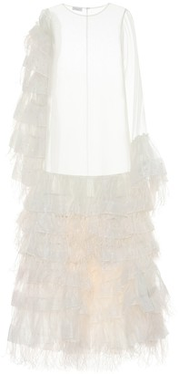 Dries Van Noten Feather-trimmed silk-tulle gown