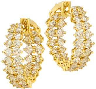 Etho Maria Gemini 18K Yellow Gold & Brown Diamond Inside-Outside Hoop Earrings