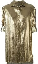 Alexandre Vauthier metallic short sleeved shirt - women - Silk/Polyester - 36