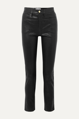 Frame Le Sylvie High-rise Slim-leg Leather Pants - Black