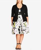 City Chic Trendy Plus Size Bow-Trim Cardigan