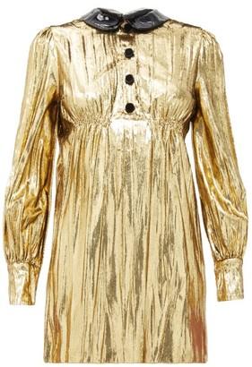 Gucci Detachable-collar Lame Mini Dress - Gold