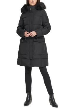 DKNY Petite Faux-Fur-Trim Hooded Water-Resistant Anorak