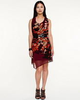 Le Château Abstract Print Cowl Neck Belted Dress