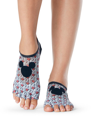 Toesox Luna Disney Love Mickey Grip Half-Toe Socks for Yoga/Pilates/Barre