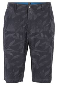 BOSS Lightweight shorts in camouflage-printed paper-touch stretch cotton