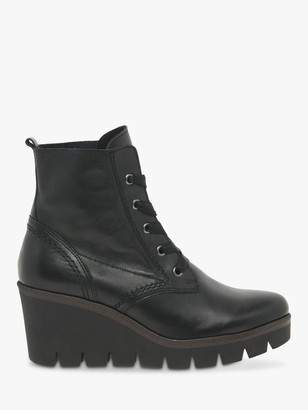 Gabor Photograph Leather Wedge Heel Ankle Boots, Schwarz