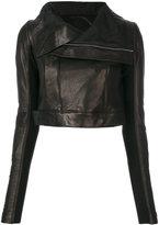 Rick Owens cropped biker jacket - women - Silk/Cotton/Lamb Skin/Viscose - 42
