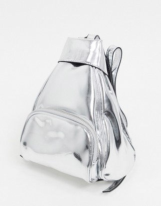 Topshop faux leather mini backpack in silver