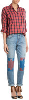 Sandrine Rose Straight Leg Jeans with Contrast Knee Patches
