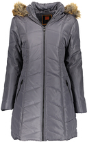 Gunmetal Chevron Faux Fur Trim Hooded Puffer Coat