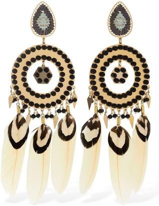Mercedes Salazar Chaman Beaded Feather Clip-on Earrings