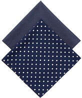 Derek Rose Large & Small Spot Handkerchiefs, Pack Of 2, Navy