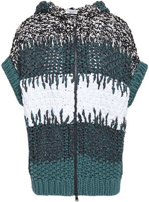 Brunello Cucinelli Sequin-embellished Open-knit Hooded Sweater