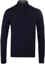Hackett Navy Funnel Neck Merino Knit Sweater