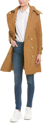 Burberry Detachable Hood Taffeta Leather-Trim Trench Coat