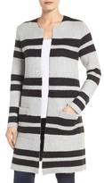 Dex Women's Stripe Collarless Sweater Coat
