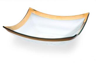 Annieglass Roman Antique Gold Large 4-Point Bowl