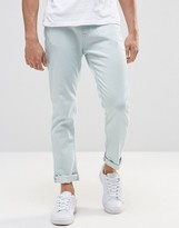 Pull&bear Slim Fit Jeans In Light Wash Blue