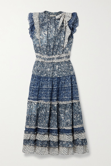Ulla Johnson Kiri Ruffled Patchwork Printed Cotton-blend Voile Midi Dress - Indigo