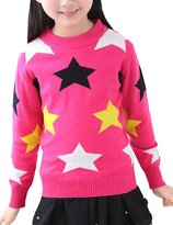 MFrannie Girl Colorful Star Round Collar Loose Wool Knitted Sweater 9-10T