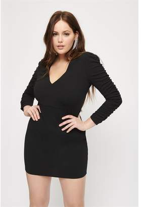 Dynamite V-Neck Bodycon Dress Jet Black