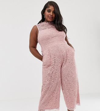 Paper Dolls Plus allover lace culotte jumpsuit in blush