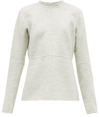 Jil Sander Fluted-hem Felted-wool Top - Womens - Light Grey