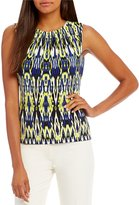 Calvin Klein Ikat Stripe Print Matte Jersey Pleat Neck Shell
