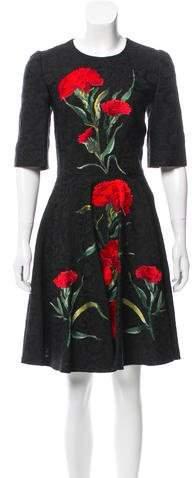 Dolce & Gabbana Embroidered Matelassé Dress