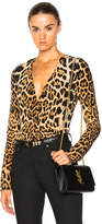 Saint Laurent Leopard Deep V Drape Blouse