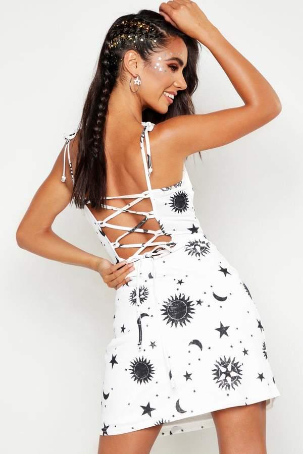 0180111fb01e4 Celestial Square Neck Lace Up Mini Dress