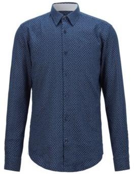 HUGO BOSS Patterned Slim Fit Shirt In Stretch Linen - Dark Blue