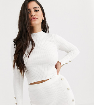 Asos DESIGN Petite co-ord fine rib jumper with gold button detail-Cream