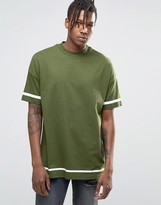 Asos Oversized T-Shirt With White Stripe Print And Wide Neck Trim