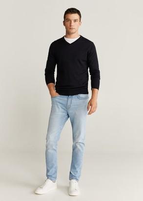 MANGO MAN - 100% merino wool washable sweater beige - S - Men