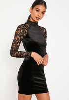 Missguided Black Velvet and Lace Sleeve Bodycon Dress