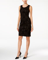 Kasper Velvet Flocked Scuba Sheath Dress