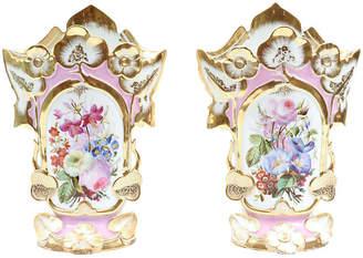 One Kings Lane Vintage Old Paris Porcelain Vases - Set of 2 - La Maison Supreme - gold/multi
