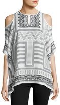 Neiman Marcus Scarf-Print Cold-Shoulder Top, White/Black