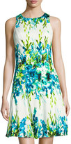 Maggy London Floral-Print Fit-and-Flare Dress, Blue/White