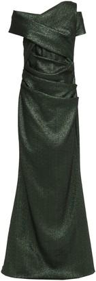 Talbot Runhof Draped Cutout Metallic Knitted Gown