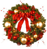"""clear National Tree Company 36"""" Decorative Collection Cozy Christmas Wreath w/ Red & Lights"""
