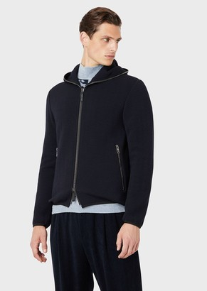 Giorgio Armani Full-Zip Jacket In Chevron Fabric