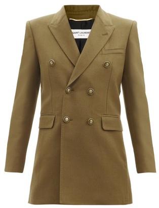 Saint Laurent Double-breasted Wool-gabardine Jacket - Khaki