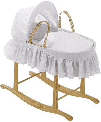 Clair De Lune Broderie Anglaise Palm Moses Basket with Traditional Skirt
