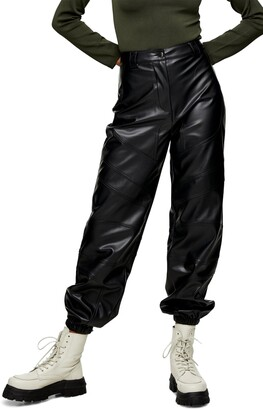 Paneled Faux Leather Joggers
