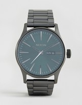 Nixon Sentry Ss Stainless Steel Watch In Silver/green