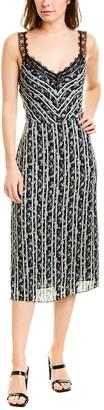 Jason Wu Lace Shoulder Silk-Trim Midi Dress