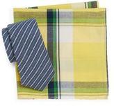 Original Penguin Alagnak Striped Tie & Plaid Pocket Square Gift Set